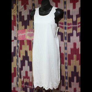 J. CREW Solid White Scalloped Edge Dress